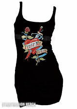 EXTRA LONG STRETCH TANK T SHIRT,TEASE ME TO DEATH,TATTOO,ROCKABILLY