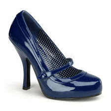 PINUP Sexy Mary Janes High Heels Vintage Style Rockabilly Navy Blue Womens Shoes