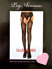 SPANDEX Sheer SUSPENDER Pantyhose w/ LACE WAISTBAND - BLACK O/S & PLUS