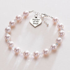 Gift for Mother Of The Bride Heart Charm Pearl Bracelet Wedding Jewellery