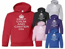 Keep Calm and Canter On Horse Pony RIding Boys Girls Hoodie Hoody Age 5-13