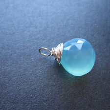 1 Faceted SEA BLUE CHALCEDONY Wire Wrapped Charm Necklace Pendant