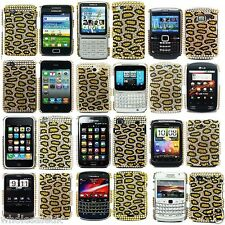 Yellow Gold Black Diamond Bling Leopard Hard Stylish Case Cover For Mobile Phone
