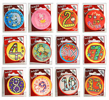 MAGIC BIRTHDAY BADGES HOLOGRAPHIC AGE 1 2 3 4 5 6 7 8 9 10 11 13