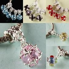 AUSTRIAN CRYSTAL 10MM DISCO BALL DANGLE LARGE HOLE BEADS FINDING FIT EP BRACELET