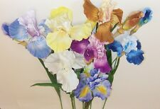 ONE LARGE HANDWRAPPED BEARDED IRIS SPRAY CHOOSE FROM 7 COLORS, TYPES & SIZES