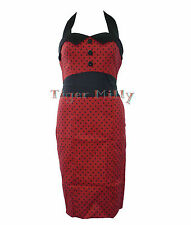 HEARTS & ROSES H&R 50's PENCIL WIGGLE POLKA DOT DRESS RED