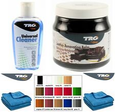 TRG GRISON LEATHER CLEANING KIT AND COLOUR RESTORER CREAM SOFA CAR SEAT BAGS