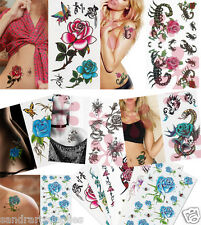 Mix Roses&Flowers Temporary Tattoo Flash with Glitter, Sexy  Tattoo Art