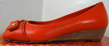 TORY BURCH EMMA PEEP TOE DEMI RED LEATHER WEDGE SHOES 5-11