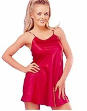 Sexy Red or Black Satin Chemise Full Slip Nightdress S M L XL Nightwear Lingerie