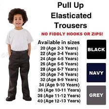 Boys Pull Up School Trousers Age 2-12 Elasticated Black Grey Navy Teflon