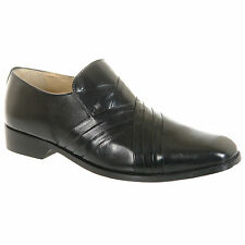 Mens / Gents Black Leather Slip On Desiner Formal Shoes Size 6 7 8 9 10 11 12
