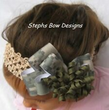 ARMY DIGITAL CAMO CAMOFLAUGE LAYERED KORKER HAIR BOW HEADBAND BARRETTE  or CLIP