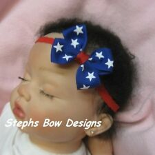 July 4th Red White & Royal Blue Stars Patriotic  DAINTY HAIR BOW LACE HEADBAND