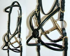 FSS German COMFORT Padded Mexican Grackle Figure 8 GOLD PIPING Brass Bridle NEW