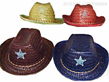 Childs Straw Cowboy Hat Halloween Costume Boys Girls Cow Cowgirl Sheriff Red