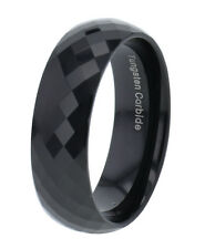 8mm Diamond Facet Black Tungsten Carbide Dome Top Band Alloy/Metal No Stone
