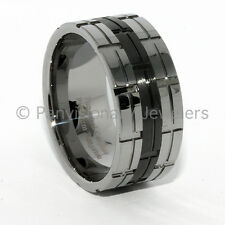 12MM Natural/ Black IP Polished/Notched Tungsten Carbide Wedding Band Ring