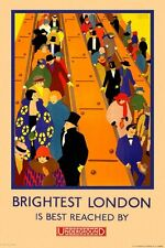 Vintage Poster Brightest London Underground TPU001 Art Print Canvas A4 A3 A2 A1