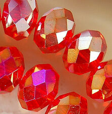 7x10mm Faceted Red Rainbow AB Crystal Beads 36pcs