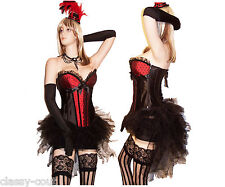 NEW Red Black Burlesque Showgirl Corset & Bustle Skirt Costume