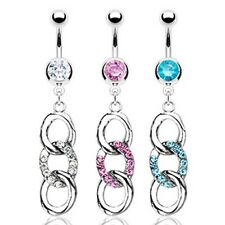 GEM PAVED LOOPS WATERFALL BELLY NAVEL RING STEEL CZ BUTTON PIERCING JEWELRY B95