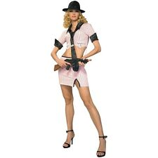 Bugsy's Babe Pink Gangster Mafia Mobster Costume Halloween Fancy Dress