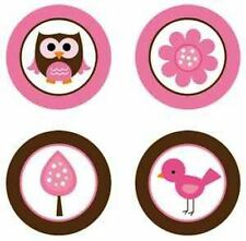 Baby Owls Girl {Pink & Brown} Edible Cupcake Toppers Decoration