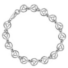 AA Alcoholics Anonymous Continuous Symbol Bracelet or Anklet, Sterling,  #312