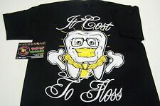 It Cost To Floss Gold Tooth Black Shirt S-2XL Screen Printed Piranha Records