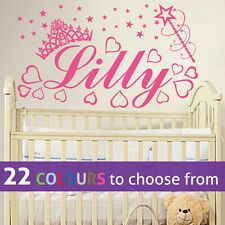 Any PERSONALISED NAME PRINCESS crown baby girl wall sticker art nursery bedroom