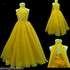 Girl National Glitz Pageant Bridal Formal Long Dress yellow 7 8 10 12 14