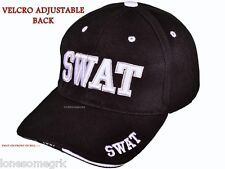 1 or 2 Deluxe Black SWAT Embroidered Adjustable Baseball Hat Ball Cap New