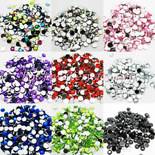1000 Crystal Rhinestone Silver Flat Back Diamante Acrylic Gems1 3 4 5 6 8 10mm