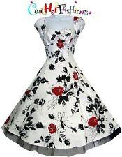 H & R LONDON dress Floral Red Black Swing 50's  rockabilly Vintage style 6676