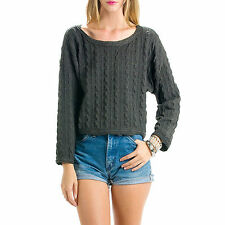 CHARCOAL GREY TWISTED CHAIN CABLE KNIT JUMPER CREW NECK CROP SWEATER S M L