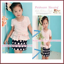 Boutique NEW Girl Trendy Chic Ladylike Polka Dots Pearl Bow Belt Dress RARE CUTE