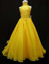 D1 NEW GIRL GLITZ PAGEANT WEDDING FORMAL PARTY FLORAL DRESS YELLOW 7 8 10 - 14