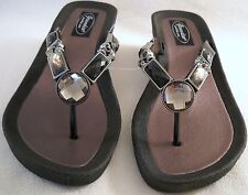 GRANDCO SANDALS Beach Pool THONG Black BLING GEMSTONE Jeweled DRESSY Flip Flops