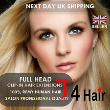 Clip In Remy 100% Real Human Hair Extensions Full Head Set UK Stock