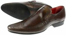 Leather Redtape Mens Malago Brown Brogue Slip on Shoes UK 7-12