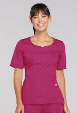 Raspberry Cherokee Workwear Novelty V Neck Scrub Top 4746 RASW