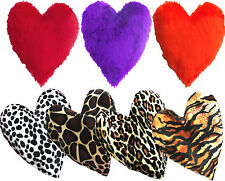 Faux Fur Heart Shaped Scatter Cushion Various Colours