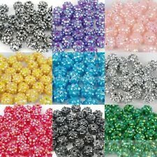 20pcs Sparkling AB Resin Rhinestones Round Ball Spacer Beads Pick Free Shipping