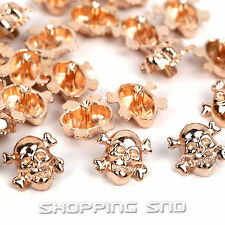 LOT DIY Gold Skull Cross Bone Metal Studs Spots Spike Rivets Leather craft 10mm