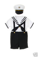 New Baby Boy & Toddler 4pc Sailor Navy Formal Suit  size S M L XL 2T 3T 4T(0M-4T