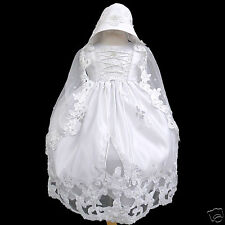 New Infant  Girl & Toddler Christening Baptism  Formal Dress + Hat White 0M-30M
