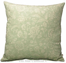 Cabbages and Roses French Toile Aqua Linen Designer Fabric Cushion Pillow Cover