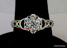 Sterling Silver 925 Ring  Flower Cluster Clear CZ Women Ring Sizes 5,6,7,8,9